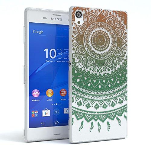 "Sony Xperia Z3 Hülle - EAZY CASE Slimcover ""Clear"" Handyhülle - Schutzhülle als Smartphone Case in Schwarz / Anthrazit Henna Gold / Grün"