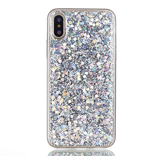 iPhone X Handycover, MOONMINI für iPhone X Bling Glitter Shiny 2 in 1 Hybrid Hülle Soft TPU Silikon Stoßfest Slim Handy Tasche Anti-Kratzer Back SchutzHülle Shell Blau Silber