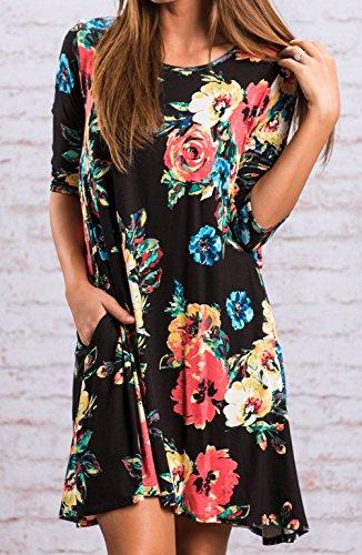 Automne Hiver Femme Casual T-shirts Lmpression Manches Longues Col Rond Robe de Cocktail Soirée Party Robes Noir