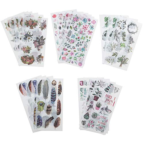 CozofLuv 30 Blatt Scrapbooking Aufkleber Fotoalbum DIY Dekoration DIY Tagebuch Album Stick Label Scrapbooking Stickers Grünpflanzen Blätter Blumen Aufkleber (#1)