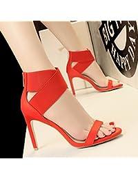 MeiMei Femme Sandales Fixations Oblongs, Rude Et Sauvage Nuit Fin De L'Été Sandales Sexy Dew-Toe High-Heel Shoes Mince Vidéo
