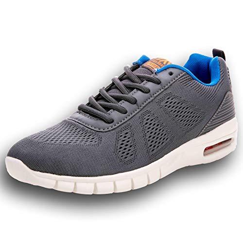 AX BOXING Mens Trainer Schuhe Multisport Mesh Laufen Walking Gym Schuh Sport Turnschuhe 44EU Grau