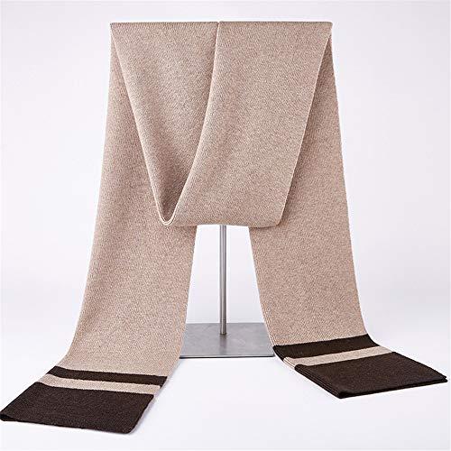 Stil Wolle Schal (MINMINA Gestrickte Schal Wolle Stricken dicken Schal einfache Atmosphäre Männer Schal, Reiskaffee)