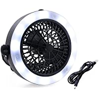 SehrGo LED Camping Lantern Fan Portable 3 in 1 Rechargeable USB LED Fan Light Tent Lamp Lantern With Hook for Indoor Outdoor Camping Hiking Traveling Fishing Black