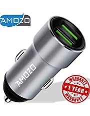 AMOZO 3A Dual Port Rapid Fast Car Charger - Metal Strong Body Shockproof Charger for Car - (Silver)