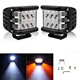 #8: Andride 2PCS 48W Led Cubes Amber Dually Side Shooter Warn Strobe Led Pods Lights Waterproof Off Road Driving Fog Light Bar Bike and Car