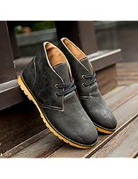 85d32980a06 LOVDRAM Chaussures En Cuir Pour Hommes Mode Pour Hommes De Haute Pour Aider  Double Fermeture À Glissière A Souligné Martin Bottes Bottes…