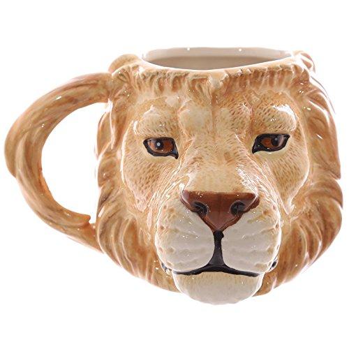 Puckator MUG212 Mug Design Tête de Lion Céramique Beige/Blanc