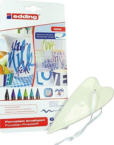 SET: Porzellan-Herz - ca. 5,5 x 12,5 cm + Edding 4200 Porzellan-Pinselstifte kalte Farben (6 Stifte) - für kreatives Basteln zu Hause