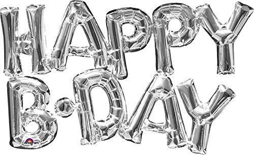 amscan 3309501 Folienballon SuperShape Wort Happy Bday, Silber