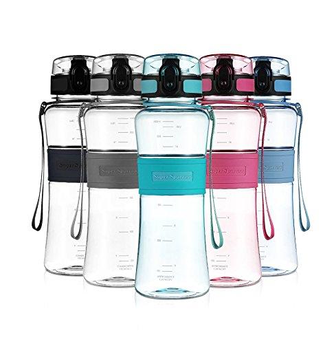 Super Sparrow Sports Wasser-Flasche Trinkflasche - Eco Friendly & BPA-freiem Kunststoff - für das Laufen, Fitness, Yoga, Im Freien und Camping - Schnelle Wasserdurchfluss , Flip Top, öffnet sich mit 1-Click - Wiederverwendbare mit dicht schließendem Deckel (Grün, 550ml-18oz)