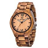 MUJUZE Herren Analoge Quarz Holzkern Armbanduhren mit Akazienholz Band und Leuchtendem Zeiger ME1001Acacia Wood