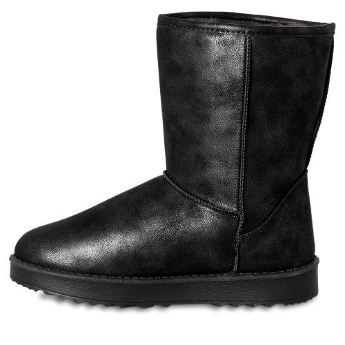 CASPAR Damen Eskimo Moon Boots / Stiefeletten im Glamour Style - 2 Farben Schwarz