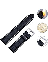 amazon co uk ladies watch straps accessories watches zeiger waterproof 20 22mm brown and black genuine leather watch band for men and women watch strap spring bar repair tools