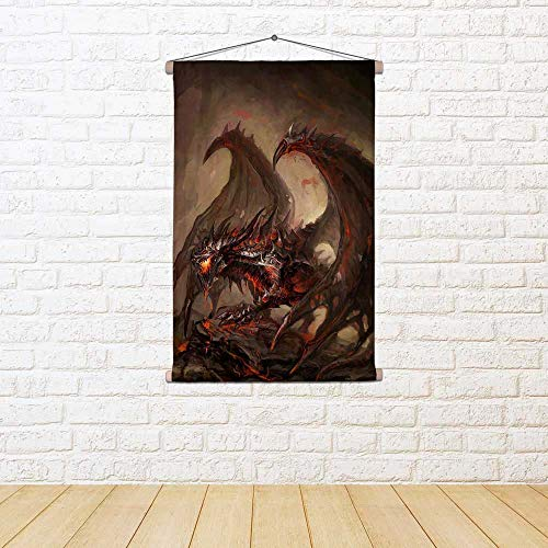affb258892777 ArtzFolio Armored Knight Dragon Canvas Painting Tapestry Wall Hanging 30 X  44Inch