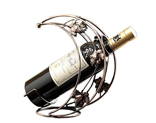 [Mond formte] Ironwork Wine Rack-Speicher-Organisator-AnzeigenHalter Bronz