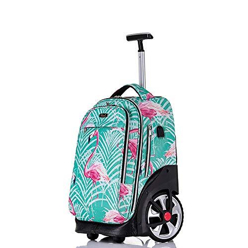 """Gepäck Koffer Hochleistungskompakter Rollenrucksack-Nylon Wasserdichte kletternde Treppen-Reiseschule fahrbarer Rucksack, Handgepäck mit 15""""Laptopfach zum Reisen (Farbe : 2)"""