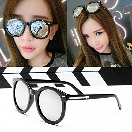 , eleganten neuen persönlichkeit, sonnenbrille, meine sonnenbrille, die flut sterne, brille, rundes gesicht, koreanische retro - augen,glänzende schwarze und weiße quecksilber (stoff)