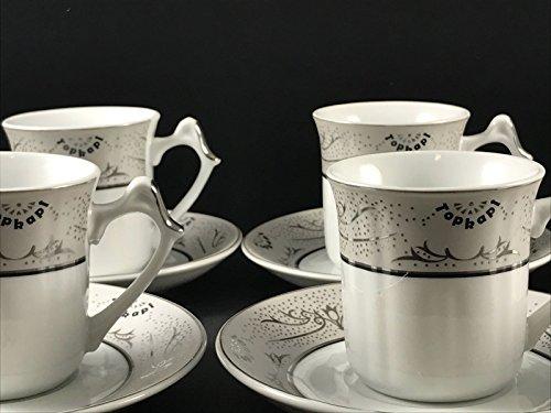 Topkapi - 12-TLG Tassen-Set Gloria Silber, als Kaffee-Set, Tee-Set, Espresso-Set, Porzellan mit Silberdekor, für 6 Personen