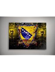 """Blason Bosnie Herzégovine, Poster Auto-adhésif Affiche Papier Murale Pop-Art Décoration Intérieure Reproduction Peinture avec Dessin Coloré. Grandeur: 11"""" x 17"""" - 28 x 43 cm"""