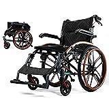 Starke und robuste Transport-Rollstühle mit abklappbaren Beinstützen for Easy Transfer-Magnesium-Legierung Anti Dumping Design Schwarze (Size : Big Wheel) -