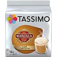 Tassimo Café Marcilla Café con Leche - 80 Cápsulas (T DISCs) compatibles con cafeteras Tassimo Bosch - 5 Paquetes de 16 Unidades