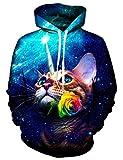Idgreatim, Teen 3D Galaxia Del Gato Sudadera con capucha Sudadera Cool Outwear Coat, Large