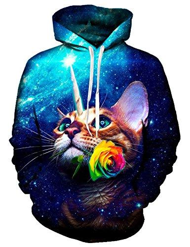 Idgreatim MäNner 3D Hoodie Gedruckt Galaxy Katze Pullover Swearshirt Cool Outwear Mantel