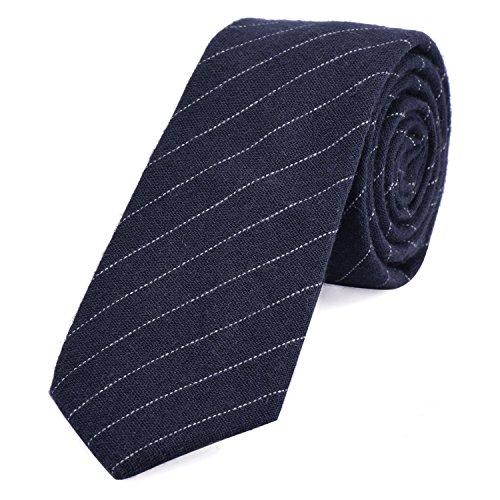 Dondon cravatta di cotone stretta a righe da uomo 6 cm - blu scuro rigato