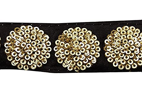 Black Crafting Fabric Trim 2.79 Cm Wide Sequins Sewing Material By The Yard