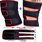 #9: DURAFIT - KNEE BRACE - (Pack of 2) -Red Line NEOPRENE Knee Support - Open Patella with Adjustable stretchy hook and loop closure - Anatomically tailored Pads Surrounds the Knee cap -with Adjustable Strapping - Lightweight - Breathable - Non-Slip -Soft - Strong - Washable - Comfort Fit Knee Brace - Best For Arthritis, Sports, Exercise and Running - Men & Women Braces - Maximum support & more Natural movement
