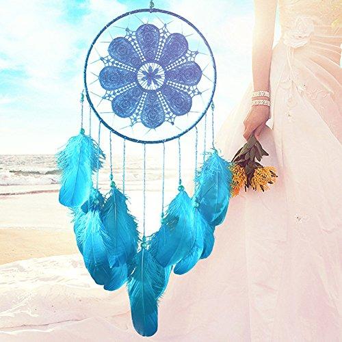 Traumfänger handgemachte florale Dreamcatcher Dekoration für Wand Auto Wohnkultur mit Feder Perlen, indische Stil hängende Verzierung beste Geschenk für Frauen, weiß