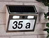 Edelstahl Solar Hausnummernleuchte 3 LEDs Hausnummer Schild Beleuchtet mit Bewegungsmelder 15,5x4,5x18cm