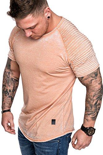 Amaci&Sons Oversize Herren Vintage Verwaschen Biker-Style T-Shirt Crew Neck Rundhals Basic Shirt 6087 Orange S
