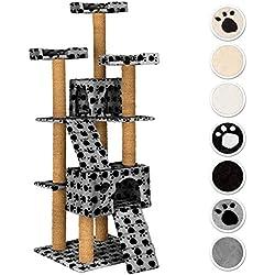 TecTake Rascador Árbol para gatos 169 cm de altura - disponible en diferentes colores - (gris con patitas | No. 402193)
