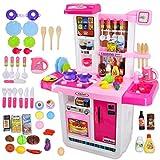 deAO 'My Little Chef' Küchen Spielset mit Klängen, Touchscreen-Panel und Wasserspiele - Mehr als 40 Zubehör Enthalten (Pink)