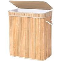 SONGMICS Wäschekorb Wäschesammler Bambus 100 L Faltbarer Wäschetruhe Wäschebox mit herausnehmbarem Wäschesack Wäschekiste Wäschetonne aus Baumwolle natur LCB61Y