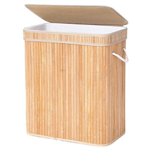 SONGMICS Cesto para ropa sucia Cesto para la colada ropa Forma rectangular Cubo para ropa sucia Capacidad de 100 L Color de Bambú LCB61Y