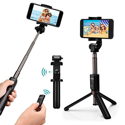 Mpow Bastone Selfie 3 in 1 Bluetooth Treppiede Estensibile, 360 ° Rotazione Selfie Stick Cavalletto con Bluetooth Controllo Remoto per iPhone/Android-Grigio-Nero