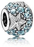 Kiss Me Argent sterling CZ Cristal Charm Perles Compatible avec bracelets The Sea Star Ocean Amour Perles