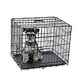 PAWZ Road Hundekäfig Hundebox mit 2 Türen Metall Tragegriff S 60 * 46 * 51cm Zusammenklappbar Robuste Metalldraht Waschbar Kunststoffschale für große Hunde Haustiere Schwarz