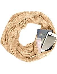 Femme Scarf With Zipper Pocket Foulard Avec Poche Zippee Couleur Unie  ChèChe ÉCharpe Double Echarpe LéGer 52974dd76e6