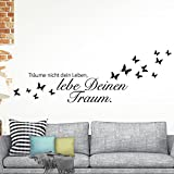 Grandora W908 Wandtattoo Spruch Träume nicht dein Leben, Lebe deinen Traum schwarz 120 x 40 cm