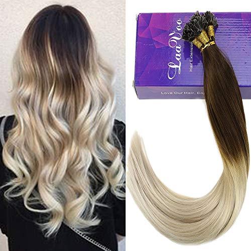 Laavoo 55 cm lungo hair extension keratina u tips capelli umani veri ombre colorate castano #4 a bionda platino cheratina brasiliana great lengths 1g 50 ciocche