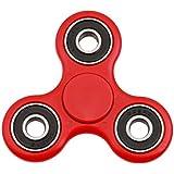 Christmas Concepts® - Spinner rojo exclusivo de la mano con los anillos negros - reductor de la tensión, relevación de la tensión, autismo - tiempo de la vuelta 1-3 minutos