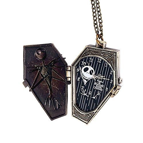 (Mode Retro Taschenuhren - Halloween Grotesk Nacht Relief Skelett Schädel Halskette Kette Taschenuhren, Bronze)