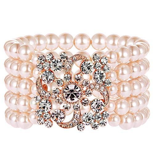 Grün Kostüm Und Schmuck Gold - Coucoland 1920s Armband Damen Perlen Blinkende Kristall Armband 20er Jahre Party Zubehör Armband Damen Gatsby Kostüm Accessoires (Rose Gold)