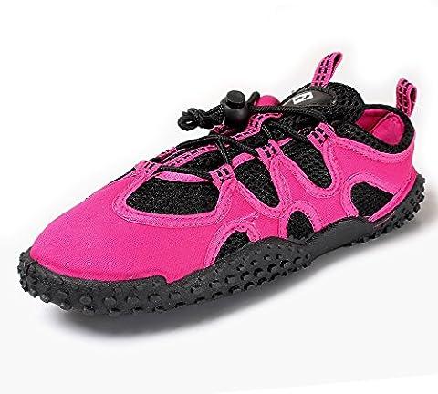 Aqua Shoes - Wet Water Shoes Unisex Neoprene w/ Laces (Raspberry, UK 6)