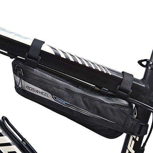 FlexDin Fahrradtasche Rahmen-Dreieckstasche Oberrohrtasche für Rennrad-Rennen/Triathlon-Fahrräder, Rahmentasche Wasserdicht Schwarz 0.6L