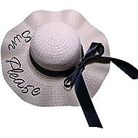 JYR Mujeres Niñas Bohemia Sombrero para el Sol Arco Trenzado Playa Al Aire Libre Sombrero de Sol Gorra de visera